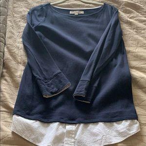 Loft navy layered t shirt small